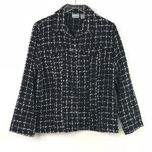 [Chico's] black and white checkered blazer #L12